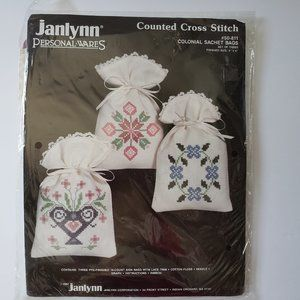 COLONIAL SACHET BAGS Set of 3 Counted Cross Stitch
